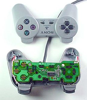 The innovative PlayStation controller attracted attention with its winged shape and its buttons.