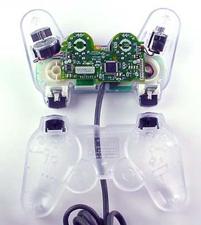 The Dual Shock controller uses force feedback to simulate the action in the game.