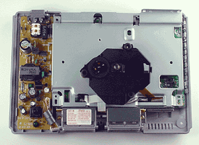 The PlayStation reads games from a CD-ROM/XA disc with a laser.