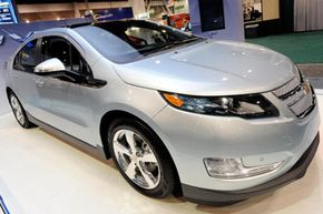 A Chevrolet Volt plug-in electric hybrid vehicle is displayed at the 2010 International Consumer Electronics Show at the Las Vegas Convention Center in Las Vegas, Nev.