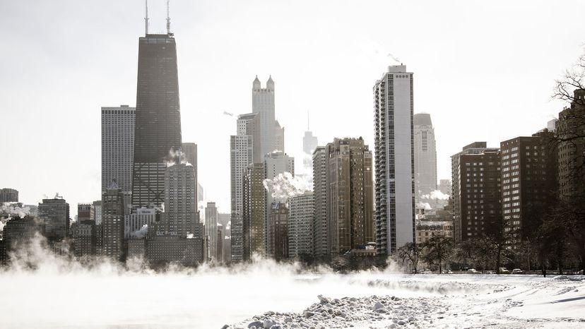 chicago skyline in january
