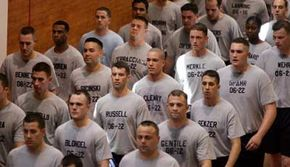 A class of police recruits at the NYPD Police Academy. See more police pictures.