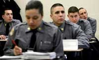 Police academy academic work usually covers law, ethics and law enforcement rules and regulations.