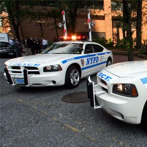 Two new police cruisers on display at the New York City Police Department headquarters. See more police pictures.