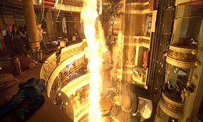 Richard Dreyfuss, Mia Maestro, Mike Vogel, Josh Lucas, Emmy Rossum and Kurt Russell during a firey scene.
