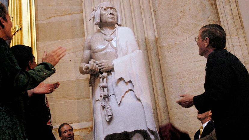 Pope, whose statue is pictured here, was a medicine man who led the revolt against Spanish colonists. Chris Maddaloni/Roll Call/Getty Images