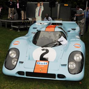 The Porsche 917 racing car which won Le Mans and was used in the classic film 'Le Mans' (1971) starring Steve McQueen, is displayed during the inaugural Chelsea Auto Legends event on Sept. 5, 2010 in London, England.