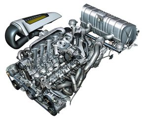 """The twin banks of cylinders are arranged in a 68-degree """"V"""" topped with four-valve heads equipped with sodium-cooled exhaust valves."""