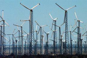Power generating windmills line Interstate 10 near Palm Springs, Calif.