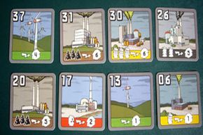 This shows the power plants currently up for auction. The bottom row is available to be bid on, while the top row shows what plants will be coming up to auction soon.