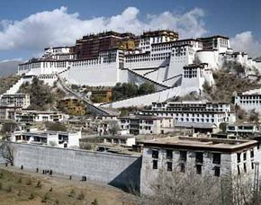 Potala Palace was home to ten successive Dalai Lamas. The Palaces exotic beauty rises over 13 stories.