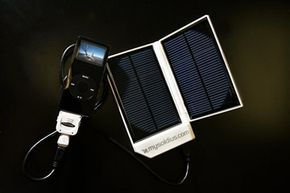This early solar charger device uses energy from the sun to recharge portable electronic devices.