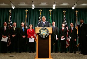 U.S. Treasury Secretary Henry Paulson announced new government measures to prevent foreclosures a press conference in December 2007.