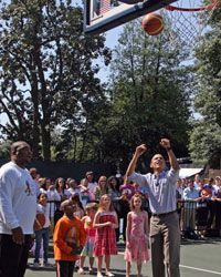 The annual White House Easter Egg Roll often also involves fitness activities on the renovated basketball and tennis court.