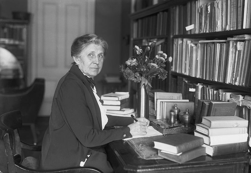 """Ida M. Tarbell is shown at her desk in 1921. She was the investigative journalist and chronicler of American industry, famous for her classic """"The History of the Standard Oil Company."""" Bettmann/Getty Images"""