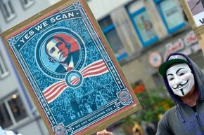 A demonstrator in Hanover, Germany, makes his feelings known about PRISM, the infamous U.S. surveillance system on June 29, 2013.