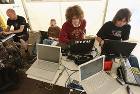 Computer hackers from around the world gathered to share tricks of the trade at Chaos Communication Camp in Finowfurt, Germany on August 10, 2007.