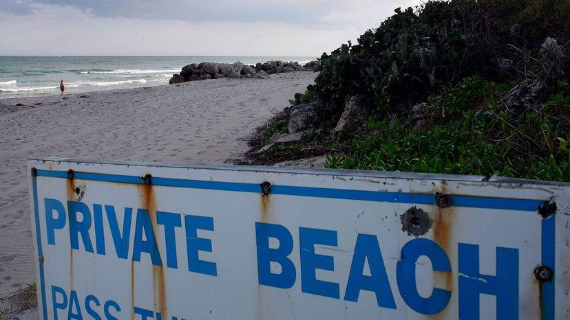 Private beach sign in Deerfield Beach, Florida