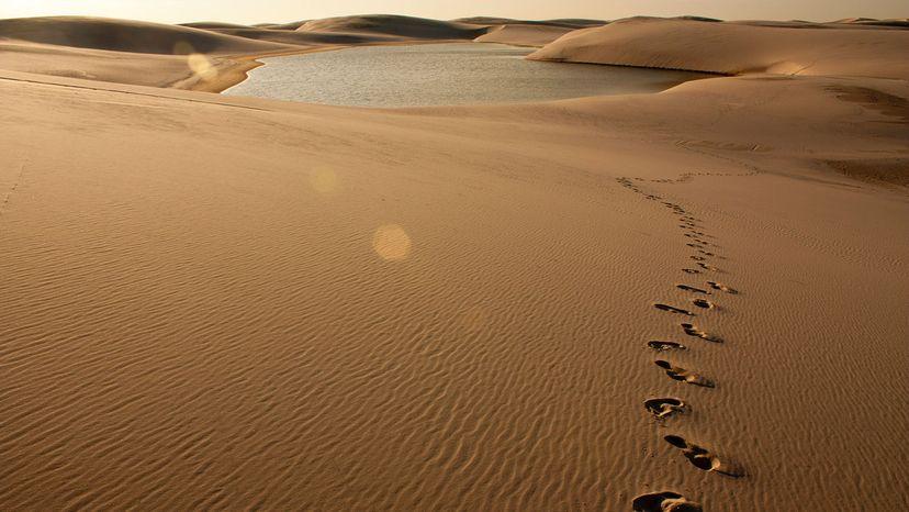 Footprint on sand dune at Lençóis Maranhenses in Barreirinhas, Brazil.