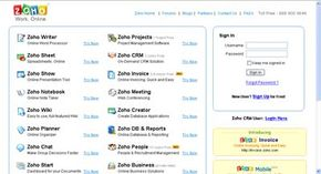 Zoho is a suite of online productivity software where all the applications are stored on remote Web servers.