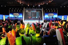 The studio audience cheers before the start of the 2014 League of Legends North American Championship Series Spring Split round robin competition.