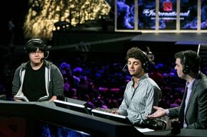 Guest commenter William 'Blitz' Lee speaks at the 2014 International Dota 2 Championships in Seattle, Washington.