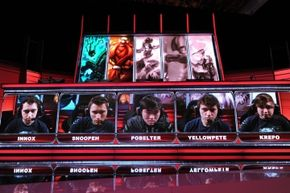 Members of the Evil Genius team play during a live taping of the League of Legends North American Championship Series Spring round robin competition. League of Legends, a hugely popular multiplayer online battle arena game, has a pro competitive league.