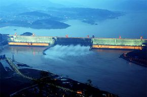 The Three Gorges discharges water during a flood peak in 2012 in Hubei, China