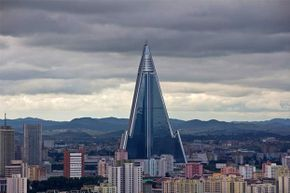 The garish, spaceship-like Ryugyong Hotel is the world's tallest unoccupied building.