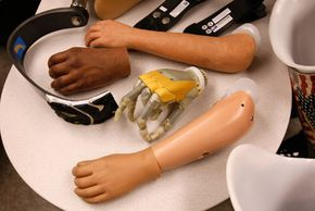 A collection of prosthetic limbs at the newly completed Military Advanced Training Center at Walter Reed Army Medical Center in Washington, D.C. See more modern medicine pictures.