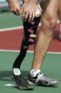 An amputee might have multiple prosthetic limbs, each specialized for different activities.