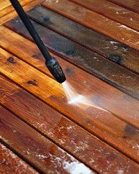 Pressure washing will get even the most caked-on gunk off of your deck.