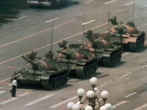 A Chinese man stands alone to block a line of tanks during the Tiananmen Square protests of 1989 -- an image that has come to symbolize the power of nonviolent protest.