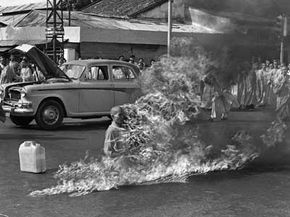 Few images capture the power of self-sacrifice in protest more than that of Buddhist monk Thich Quang Duc, serenely posed in meditation on a Saigon street as the flames of immolation roll over his flesh.