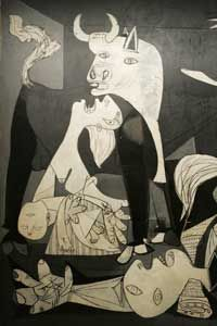 """Picasso's mural """"Guernica"""" was his depiction of the Nazi German bombing of Guernica during the Spanish Civil War."""