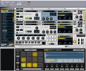 Pro Tools plug-ins create instruments such as drums in a virtual environment.