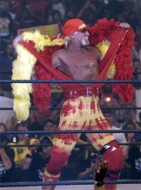 Legendary wrestler Hulk Hogan follows in the footsteps of Gorgeous George as he struts his stuff.
