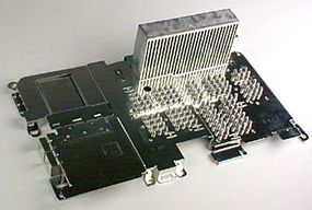 The incredible amount of heat generated by the processors requires this huge heat sink.
