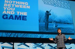 Game designer Mark Cerny speaking at Sony's Playstation 4 announcement event on Feb. 20, 2013 in New York.