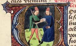 """A bloodletting depicted in a 1356 manuscript, """"Traite de Medecine,"""" by Aldebrande de Florence"""