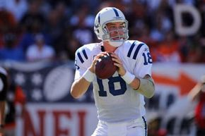Indianapolis Colts quarterback Peyton Manning prepares to pass in a 2010 game against the Denver Broncos.