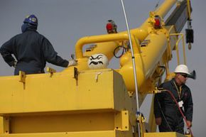 A punkin chunkin team gets ready for the big launch.
