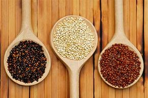 Quinoa comes in many colors, most commonly white, red and black.