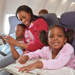 Pack along some books and things to color and you'll help keep the kids occupied on the plane.