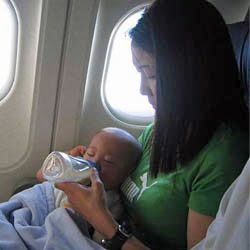 By shifting your infant's nap schedule up or back an hour, you can hopefully earn a little silence on the plane.