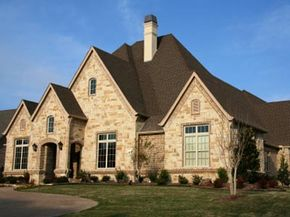 A new large house in suburbia.