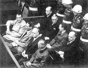 Nuremberg Trials: Defendants Goering, Hess, von Ribbentrop, and Keitel in front row