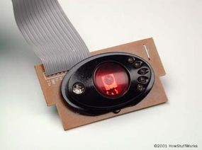"""The robot's """"laser unit"""": An infrared LED to shoot light beams and a photocell to receive them"""