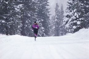 When you're running in this kind of weather, you should wear gloves and a hat to protect your skin from frostbite.