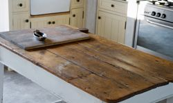 Reclaimed wood adorns a perfect rustic table.